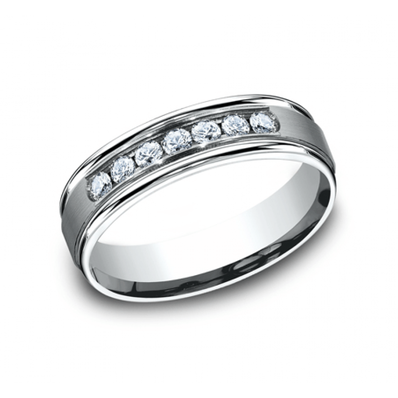 BENCHMARK Mens White Gold Wedding Band RECF516516W