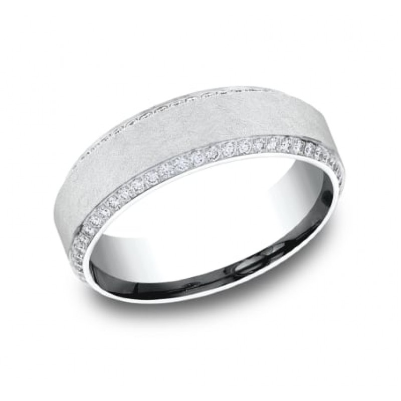 BENCHMARK Mens White Gold Wedding Band CF887070W