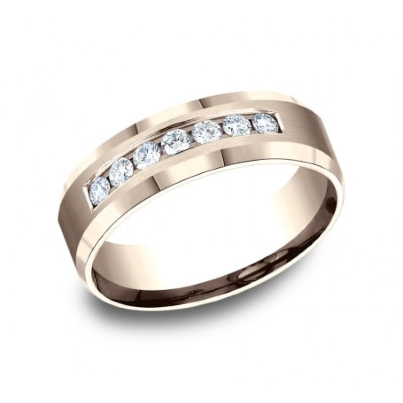 BENCHMARK Mens Rose Gold Wedding Band CF527149R