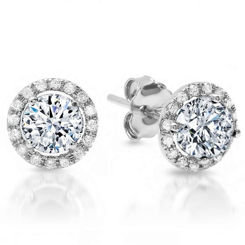 18K White Gold Diamond Studs with Halo .80 carat total weight