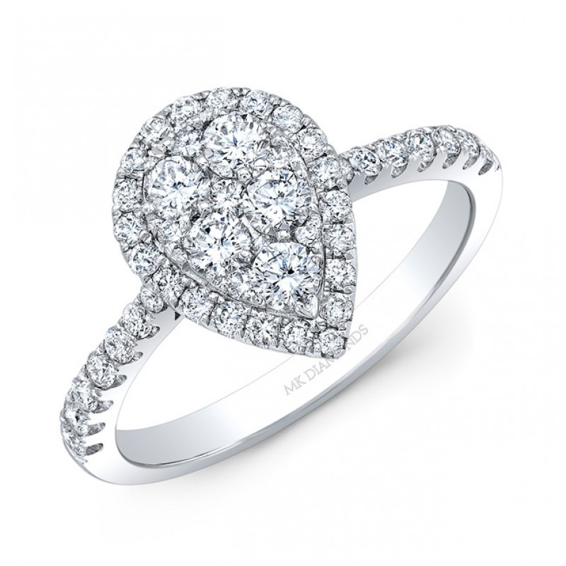 14K White Gold Pear Shape Cluster Diamonds with Halo 3/4 carat tw