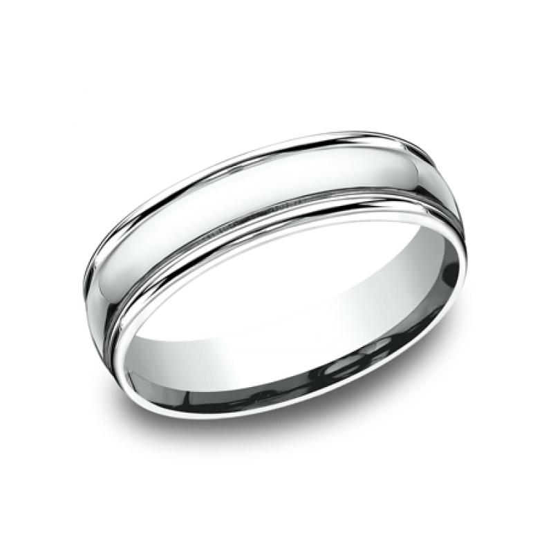 BENCHMARK Mens White Gold Wedding Band CF15608W