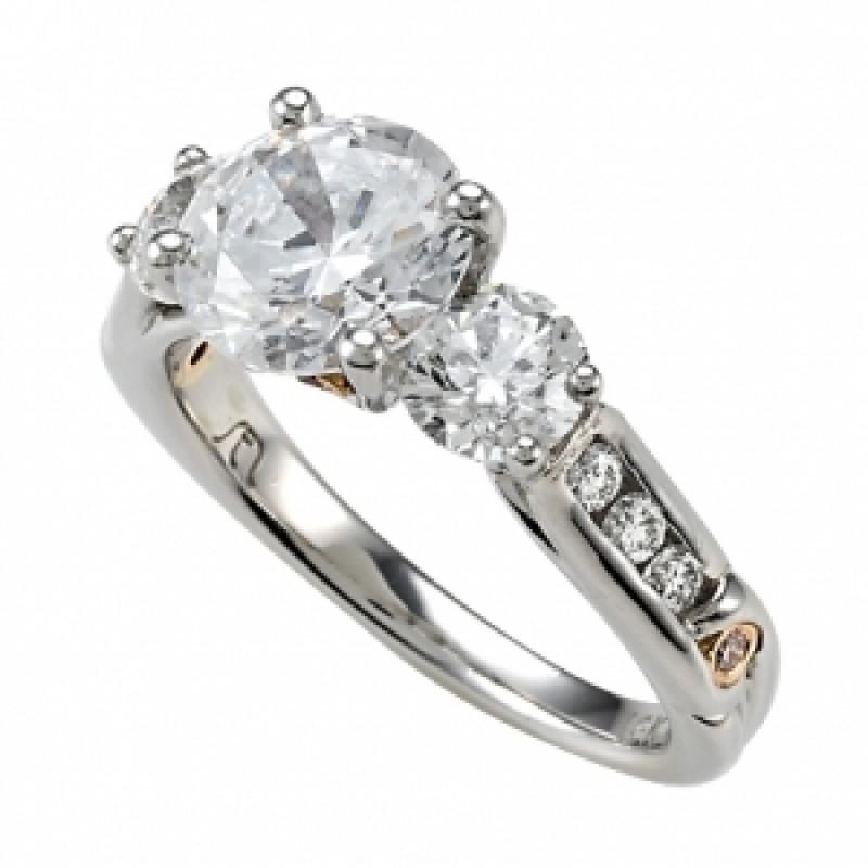Platinum 3 Stone Diamond Ring with Pink Diamonds and White Diamond Shank
