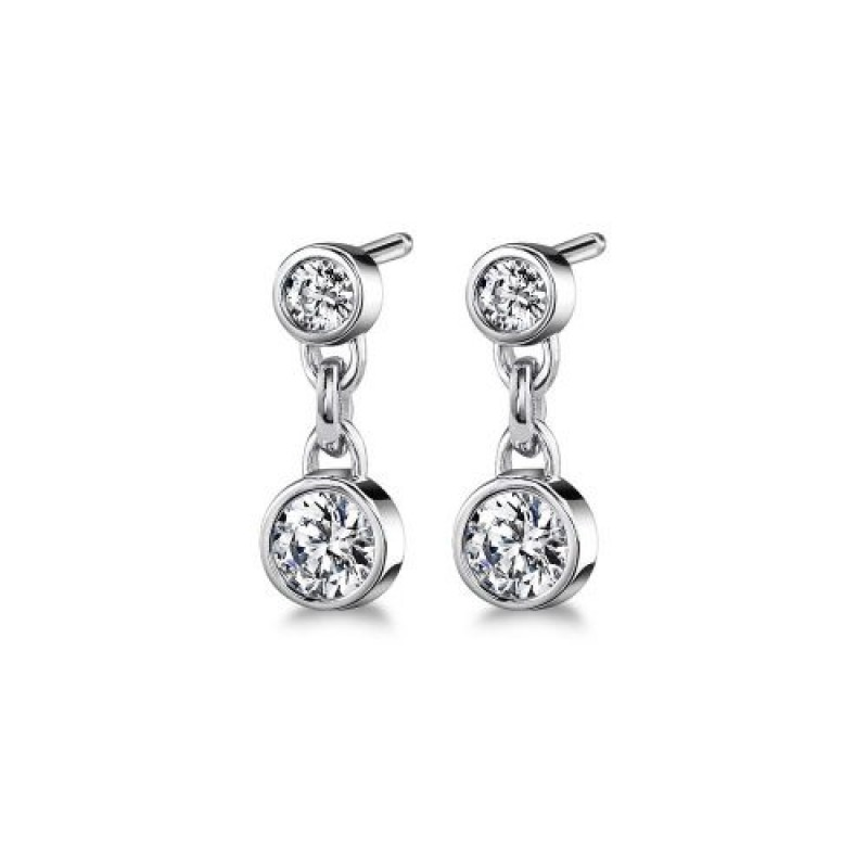 14 White Gold Diamond Double Bezel Stud Earrings
