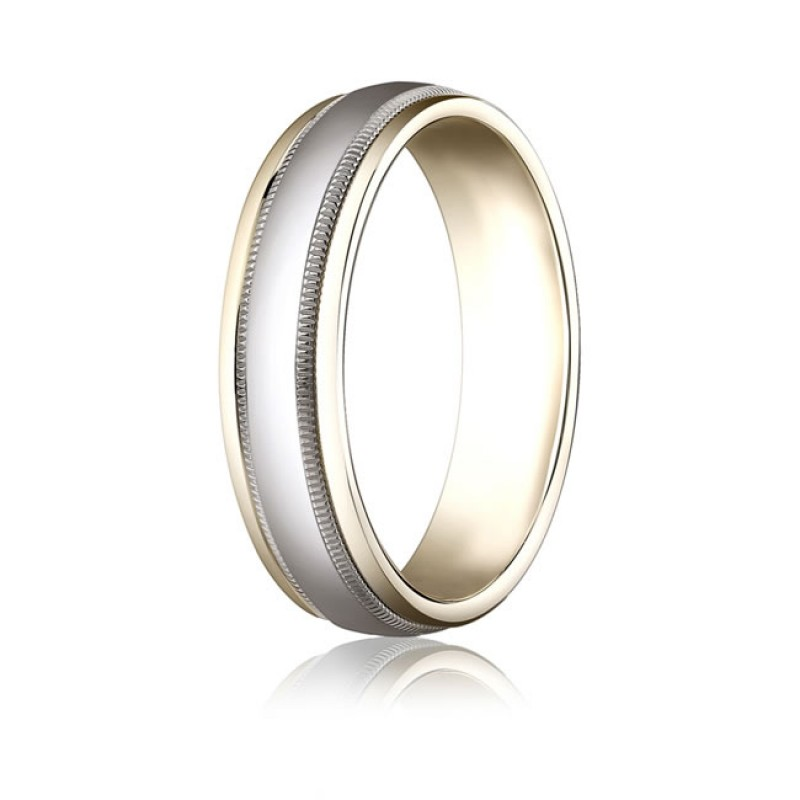 Polished Two Tone Millgrain Band