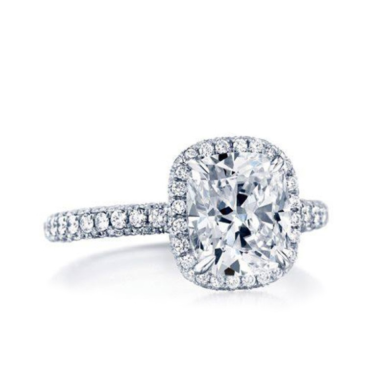 Cushion Shape OrStar Diamond with Diamond Halo and Diamond Shank
