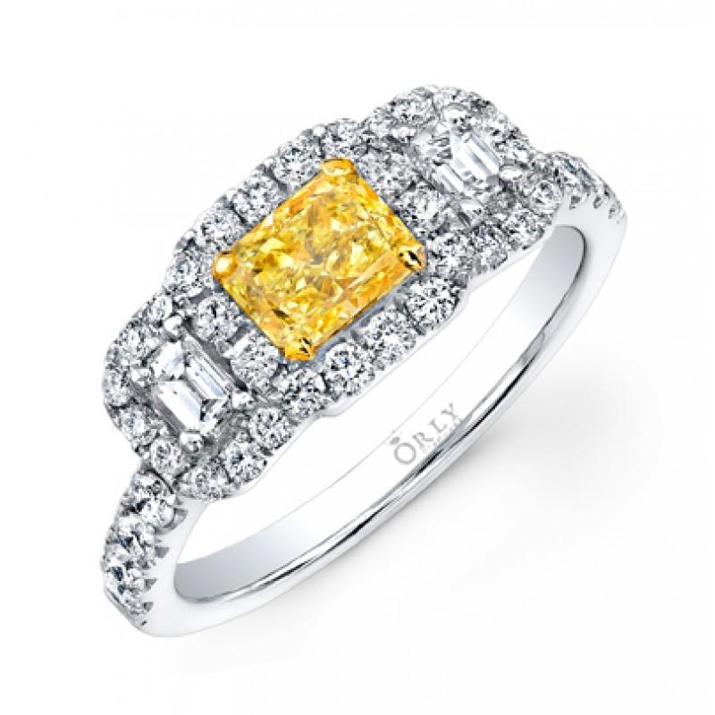 PRINCESS CUT FANCY YELLOW DIAMOND WITH EMERALD CUT DIAMONDS AND FULL HALO