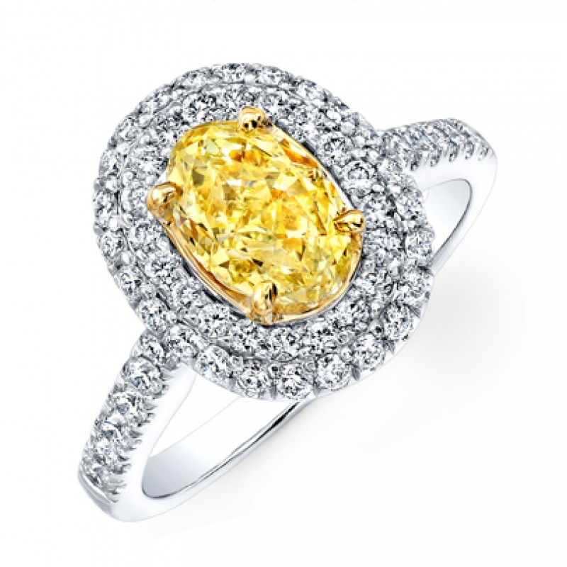 OVAL FANCY YELLOW DIAMOND WITH DOUBLE HALO