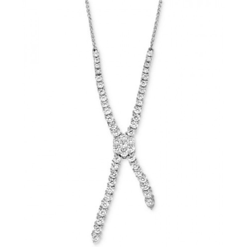 14K white Gold Diamond Lariat Necklace