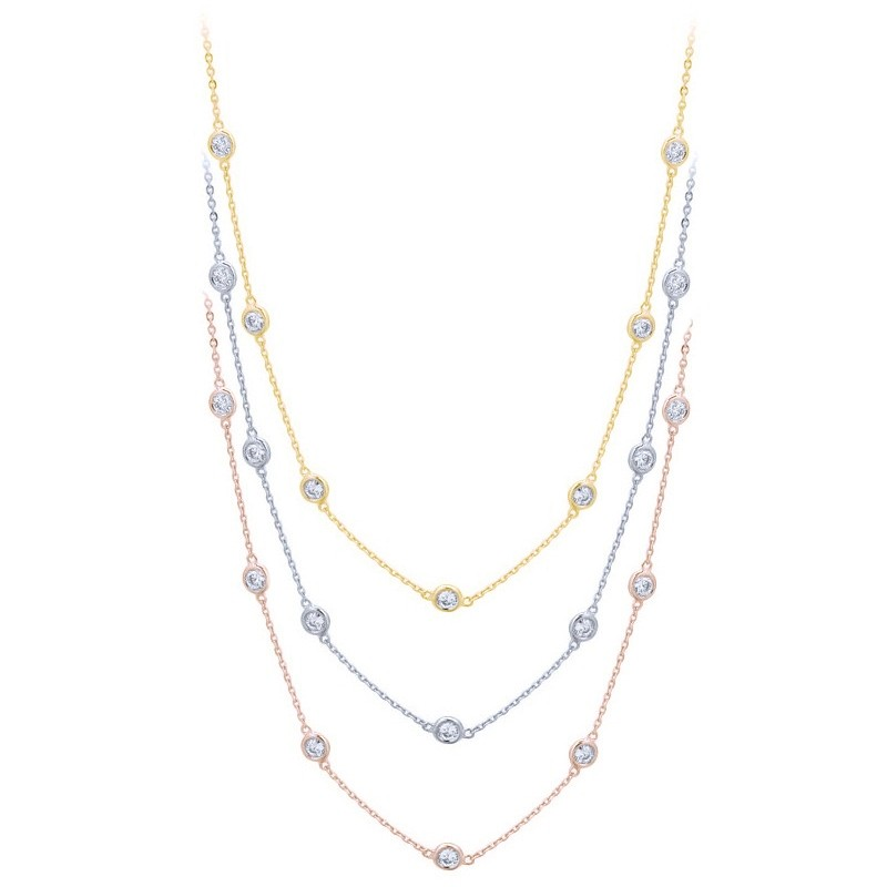 White Yellow and Rose Gold Diamond by the Inch Necklaces