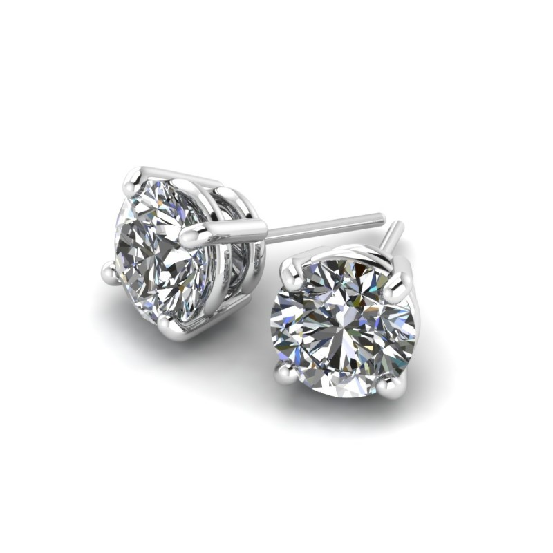 14K White Gold Diamond Studs 3/4 carat