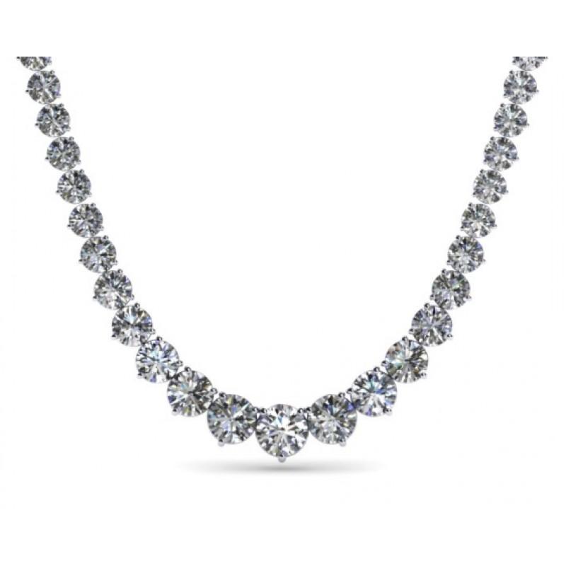 14k White Gold Diamond Riviera Necklace