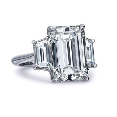 Platinum Emerald Cut Diamond with Two Step Cut Trapazoid Diamonds 3.65 carats total weight