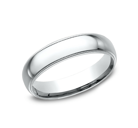BENCHMARK Mens White Gold Wedding Band LCF350W