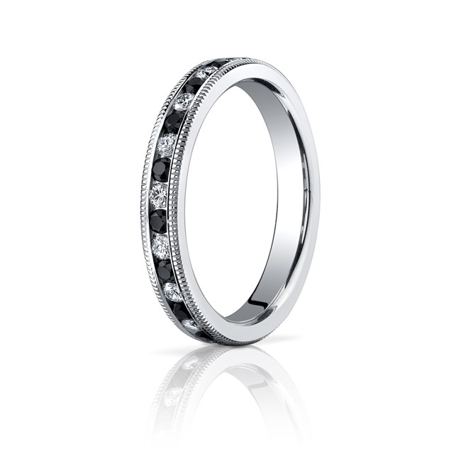 3mm Black & White Diamond Millgrain Eternity Band