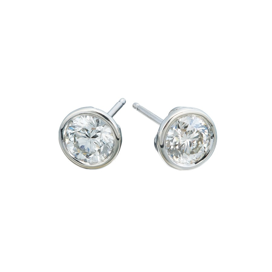 14 White Gold Diamond Bezel Stud Earrings