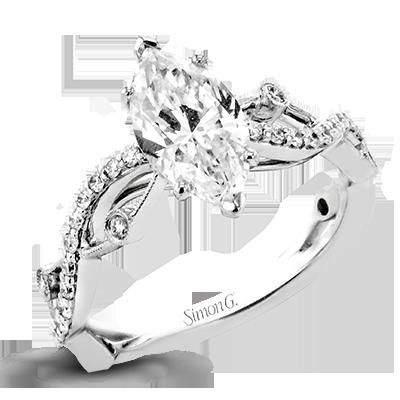 18K GOLD WHITE LR2207-MQ ENGAGEMENT RING