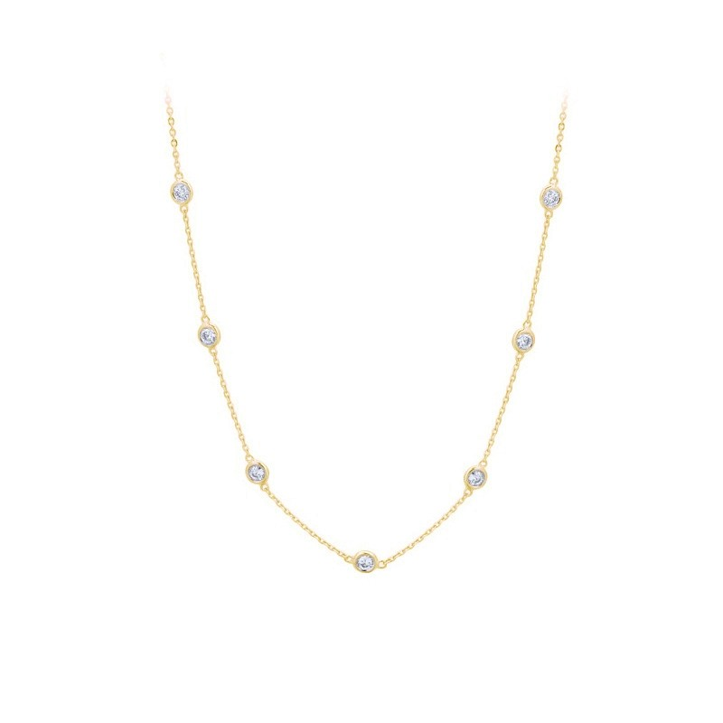 Yellow Gold Diamond by the Inch Necklace