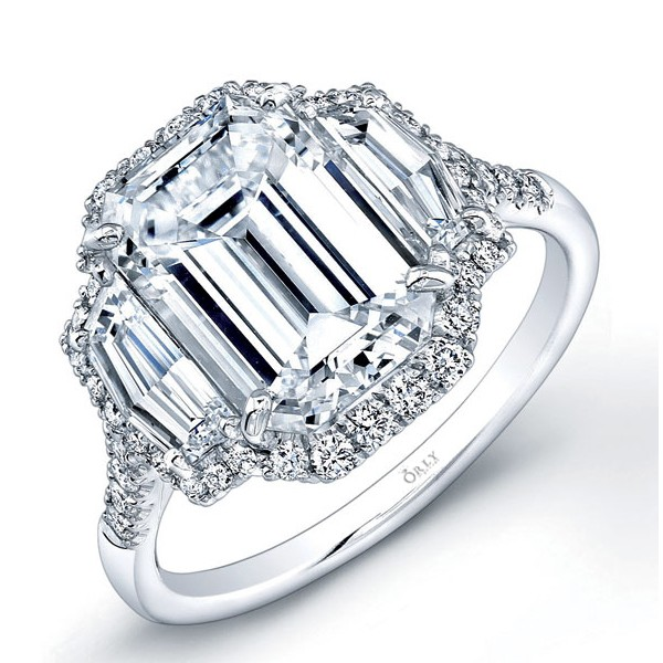 Emerald Cut Diamond with Two Step Cut Trapazoids and Diamond Frame