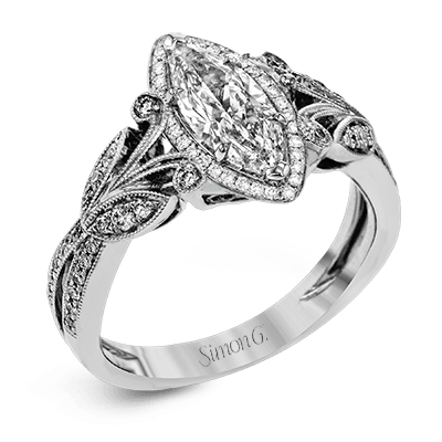 18K GOLD WHITE TR629-MQ ENGAGEMENT RING