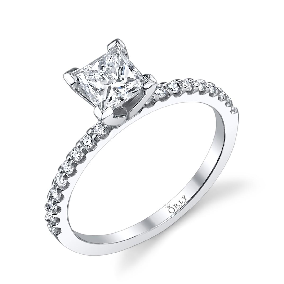 Princess Cut Diamond with Diamonds Shank .77 carats tw