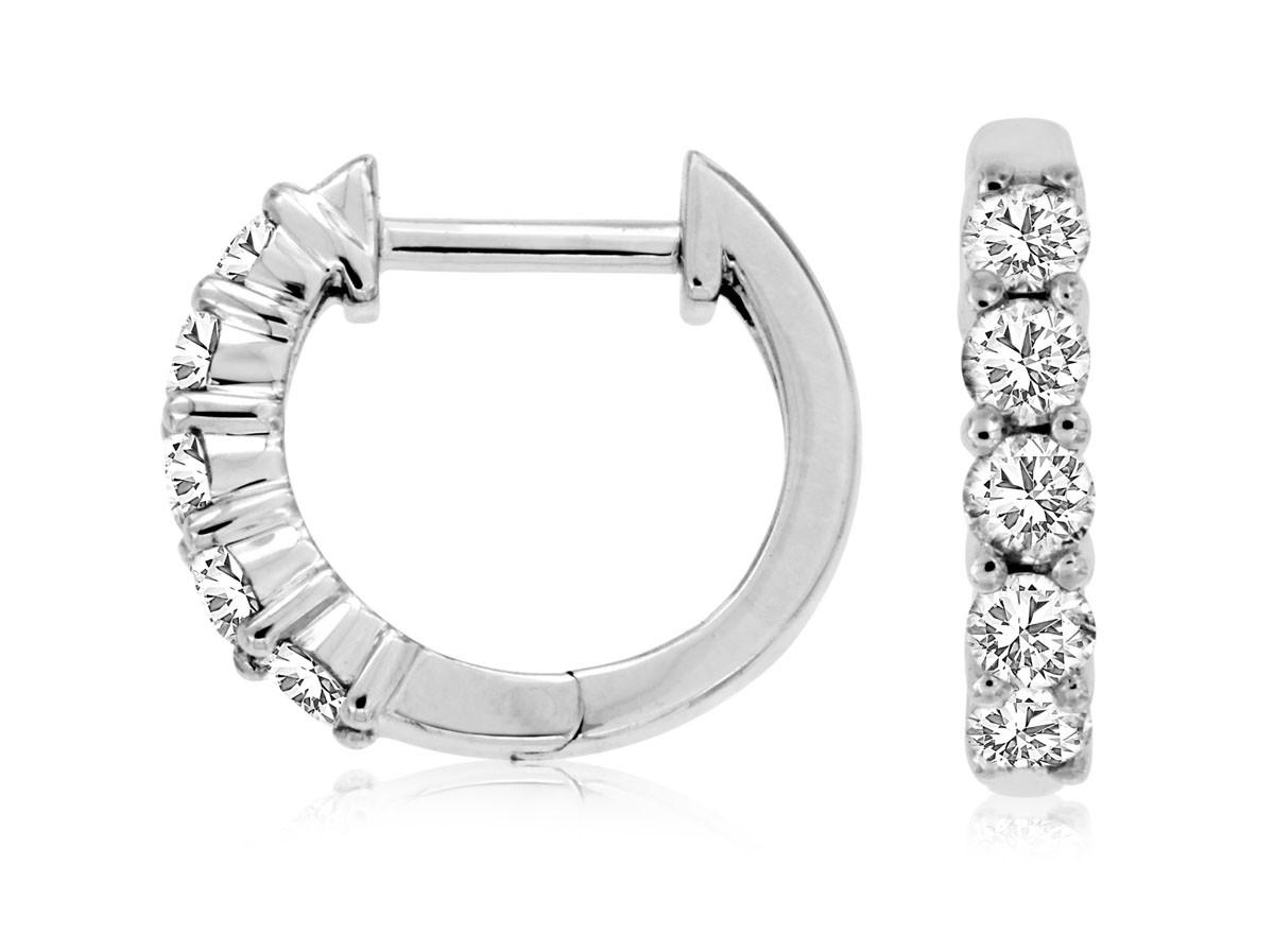 14K White Gold Diamond Huggies Earrings