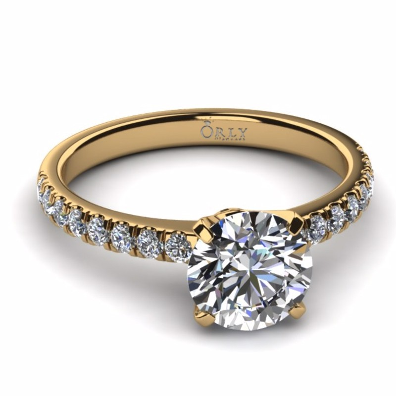 Round Brilliant Cut Diamond in Elegance Setting in Yellow Gold 2.28 carats tw