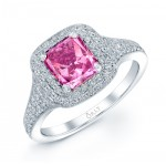 PINK DIAMOND WITH DOUBLE HALO ANTIQUE STYLE