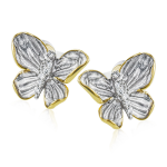18K YELLOW & WHITE GOLD, WITH WHITE DIAMONDS. DE271-G - EARRING