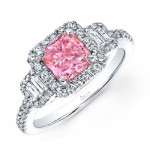 PRINCESS CUT PINK DIAMOND WITH EMERALD CUT DIAMONDS AND FULL HALO