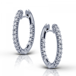 18K GOLD WHITE ER380 HOOP EARRING