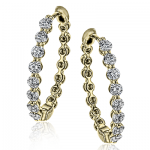 18K GOLD WHITE LE4547-Y HOOP EARRING