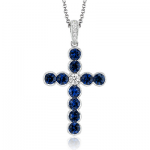 18K GOLD WHITE NP204-A CROSS PENDANT
