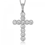 18K GOLD WHITE NP204 CROSS PENDANT
