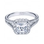 14K White Gold Princess Cut Diamond with Halo and Split Shank 1.23 ct. tw