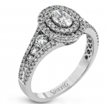 18K White Gold Oval Diamond Engagement Ring 1.19 Carats tw