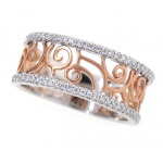 18K Rose & White Gold Scalloped Diamond Band