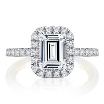 Emerald Cut Diamond with Diamond Halo and Diamond Shank 2.02 carats total weight