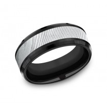 FORGE Mens Two-Tone Wedding Band CF108814BKTDS