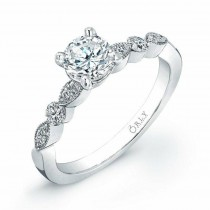 14K White Gold Vintage Style Diamond Engagement Ring 1.33 carat tw
