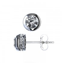 14K White Gold Bezel Set Diamond Studs with Diamonds around Bezel