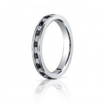 14kw Black & White Diamond Eternity Band 3mm