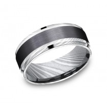 FORGE Mens Two-Tone Wedding Band CF118813BKTDS
