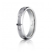 4mm Flat Brushed & Polished Diamond Comfort Fit Band