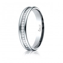 5.5mm Brushed & Polished Finish Spin Cut Partial Diamond Comfort Fit Band