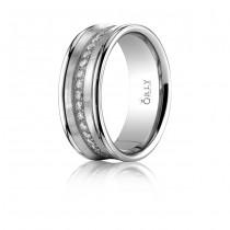 7.5mm Brushed & Polished Finish Concave Diamond Eternity Comfort Fit Band
