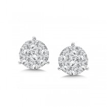 14K White Gold Diamond Star Cluster Studs look 4.00 carat