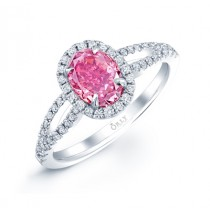 OVAL PINK DIAMOND WITH HALO AND SPLIT SHANK