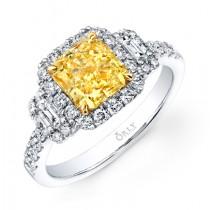 RADIANT CUT FANCY YELLOW DIAMOND WITH EMERALD CUT DIAMONDS & HALO FRAME