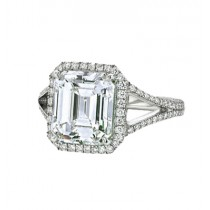 Emerald Cut Diamond With Halo & Split Shank